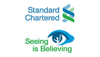 "Logotipo de ""Standard Chartered Seeing is Believing"" (Ver para creer)"