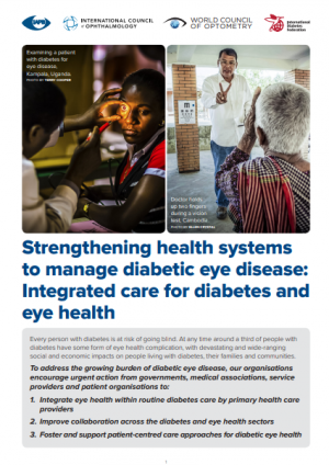 Strengthening health systems to manage diabetic eye disease: Integrated care for diabetes and eye health