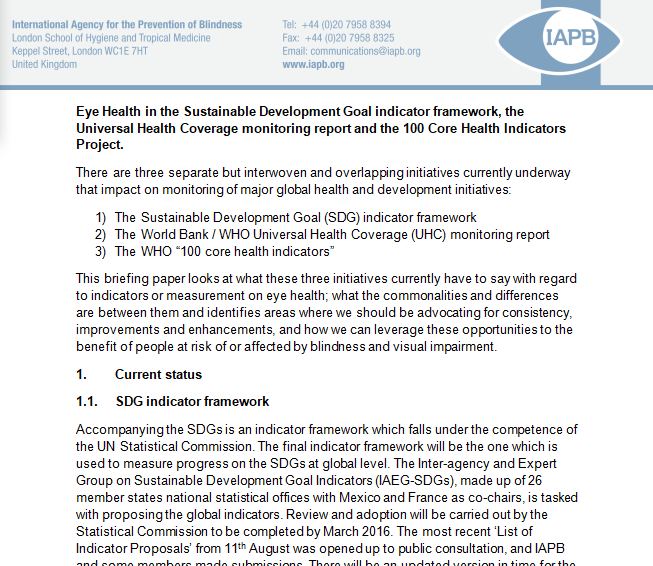 The Indicators Framework in support of SDGs and eye health
