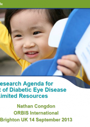 Towards a Research Agenda for Management of Diabetic Eye Disease in Areas of Limited Resources - Nathan Congdon