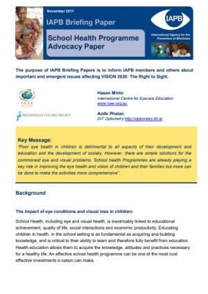 School Health Programme Advocacy Paper