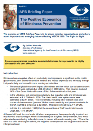 The Positive Economics of Blindness Prevention