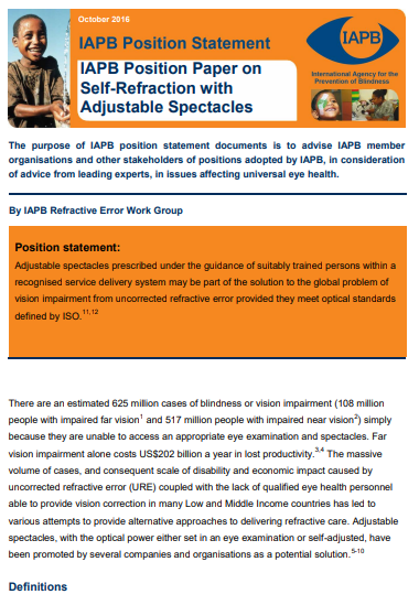 Position Paper on Self Refraction with Adjustable Spectacles