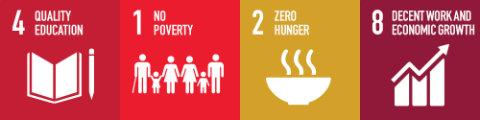 SDG tiles 4, 1, 2, 8