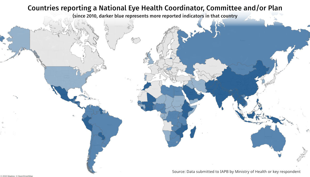Map showing Countries reporting a National Eye Health Coordinator, Committee and/or Plan. REporting is higer in Asia, Africa and Latin America, and low in Europe.