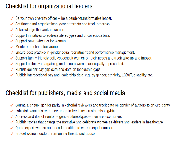 Checklist for organisation leaders and publishers