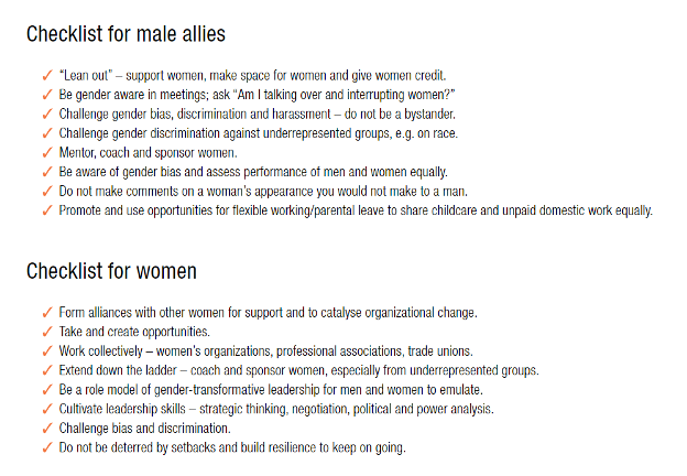 checklist for male allies and women