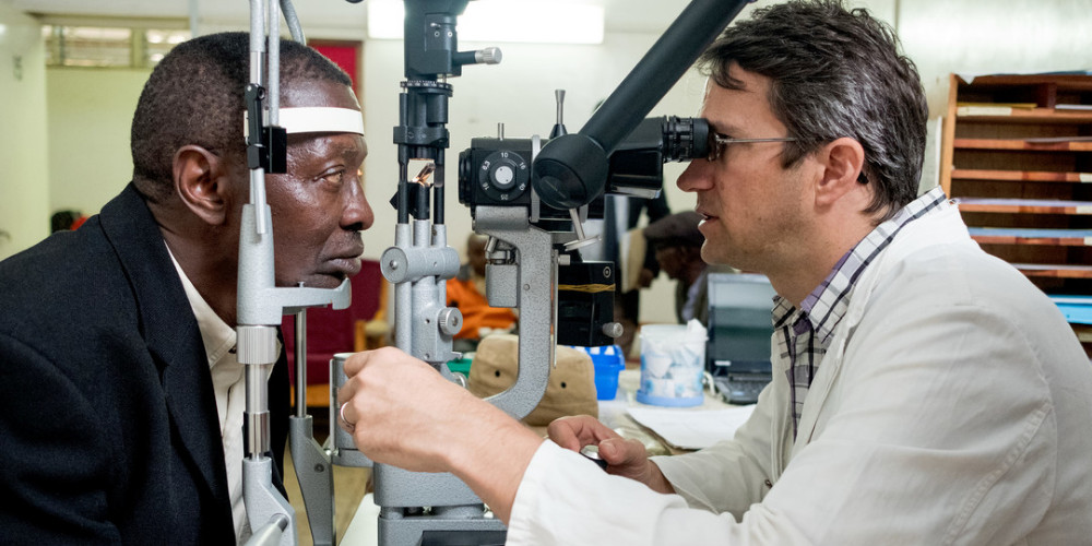 Glaucoma patient Mushi Ebenezer has a checkup with Dr Heiko Philippin at KCMC (project 393) in Moshi, Tanzania on June 8, 2018