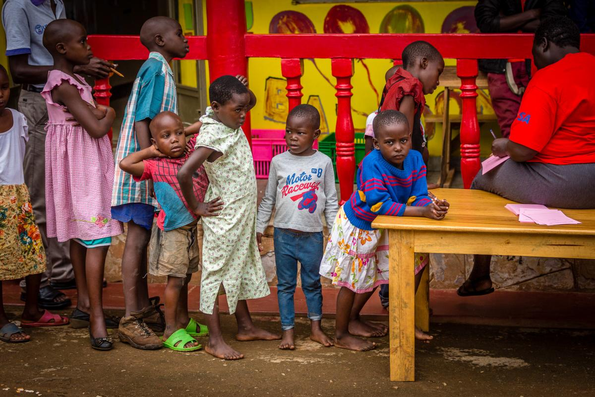 Children waiting for their eye exam