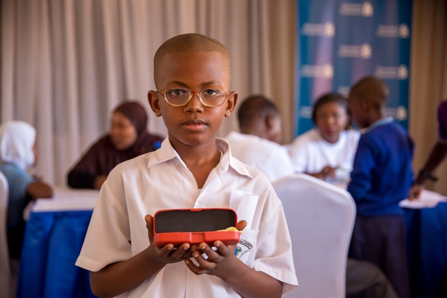 One of the pupils from Bunge primary school received spectacles