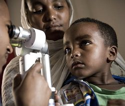 Pediatric cataract examination inside of a clinic at an Orbis International hospital -based training project in Gondar, Ethiopia