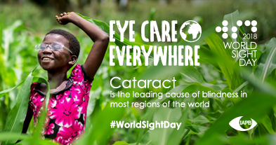 Cataract is the leading cause of blindness in most regions of the world. In the background: Young girl dancing with joy after successful cataract surgery.