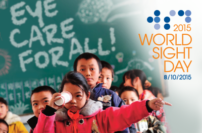 Artwork for WSD 2015: Photograph of child taking an eye test while more children wait for their turn