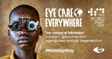 Top causes of blindness: Cataract, glaucoma, age-related macular degeneration. In the background: Young boy getting an eye test