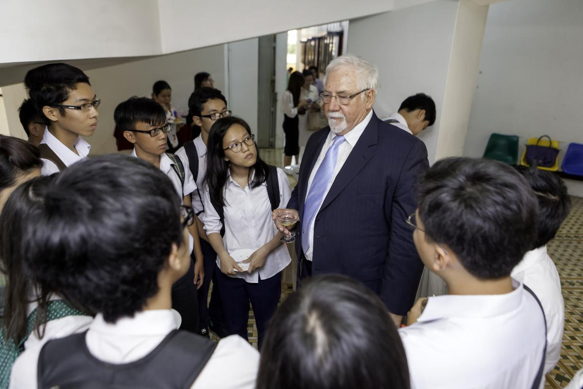 Brien Holden at the launch of an optometry school in Vietnam