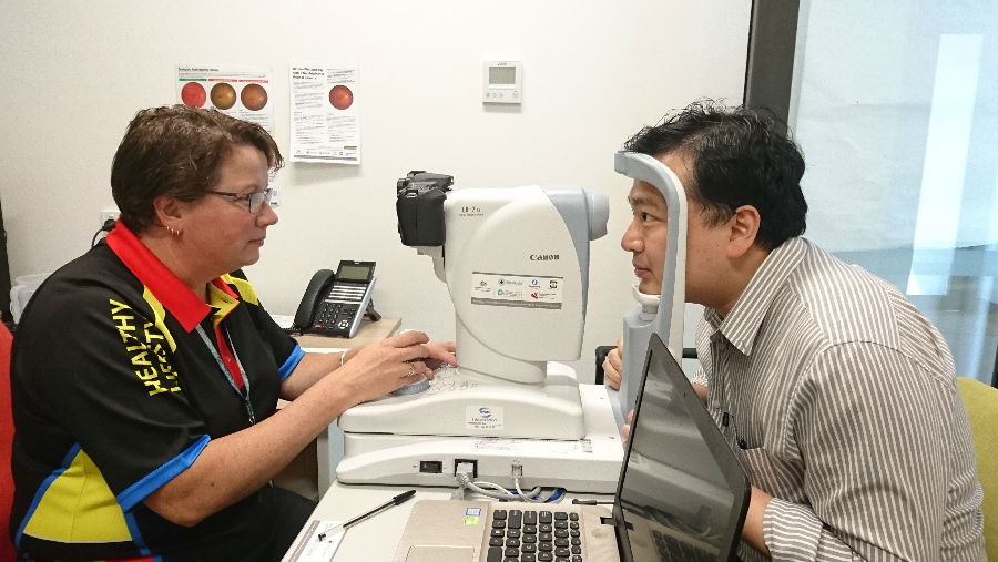 Australian College of Optometry/In Bairnsdale, Victoria during the retinal camera project