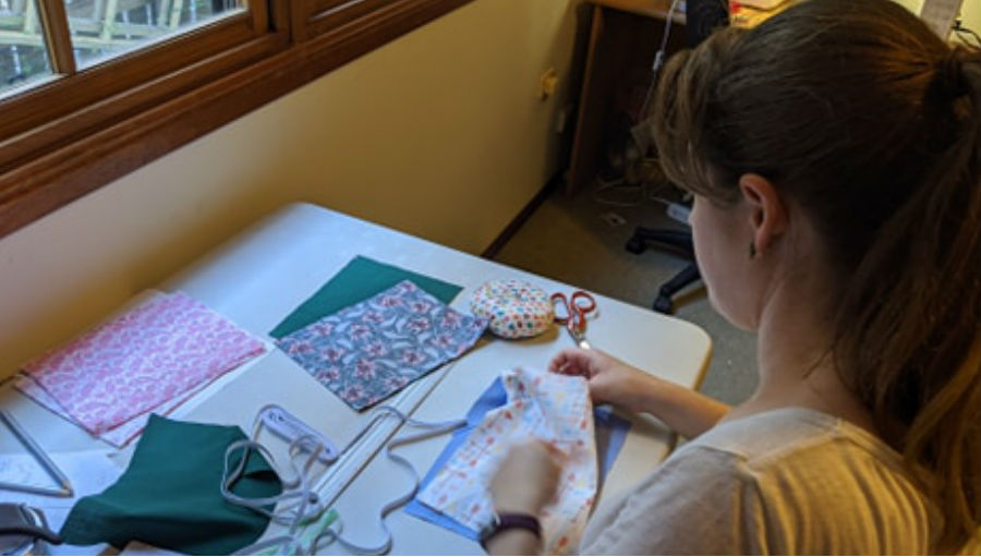 Belinda making masks
