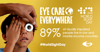89% of visually impaired people live in low and middle-income countries. In the background: A child getting an eye test