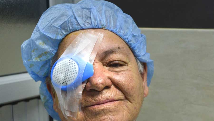Woman smiling after cataract surgery