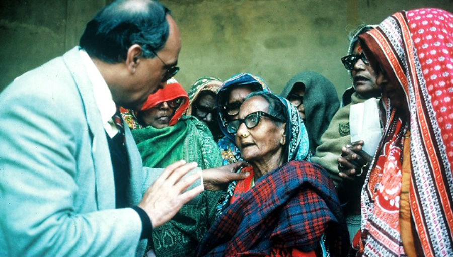 Checking eyes on a mission in 1986/ Story: Combat Blindness International: 35 years of Vision