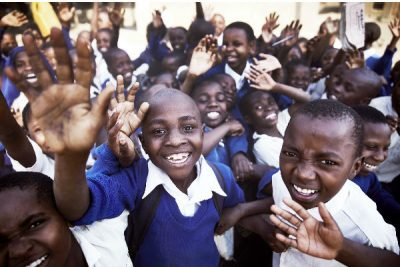 Children in Tanzania play to the camera
