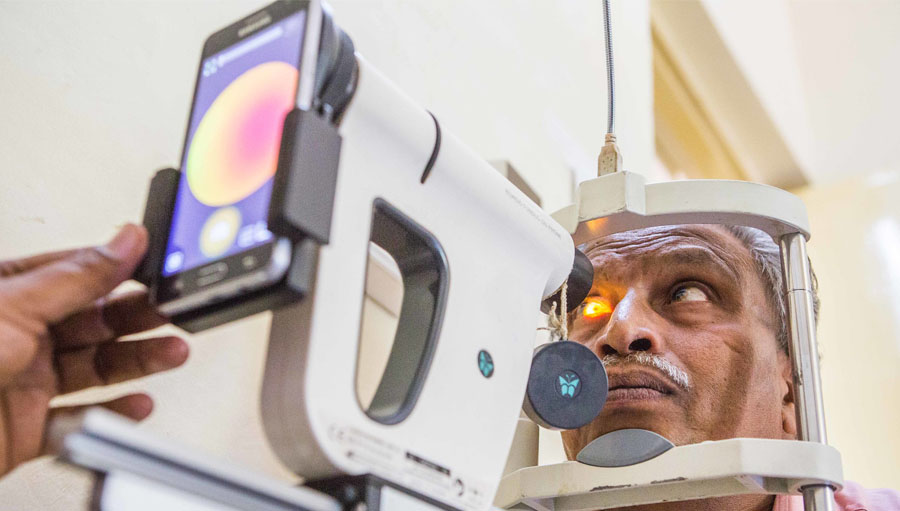 A patient with diabetic retinopathy undergoes an eye test