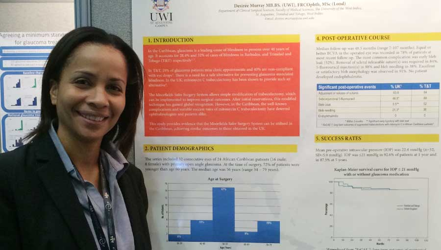 Challenges in preventing blindness and visual impairment from glaucoma in Trinidad and Tobago/Dr Desiree Murray presenting a poster at the RCOphth Annual Congress, Birmingham, UK, May 2016