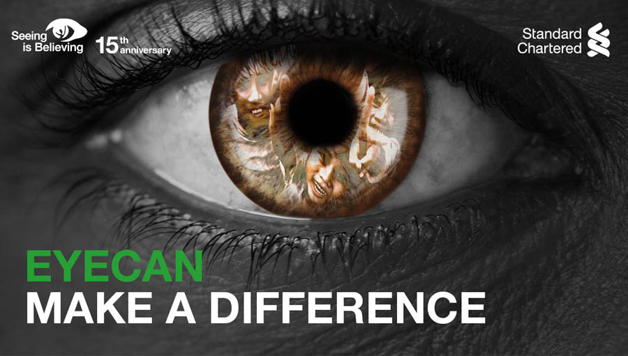 Standard Chartered reaches USD100 million goal. Eye Can, Seeing is Believing image