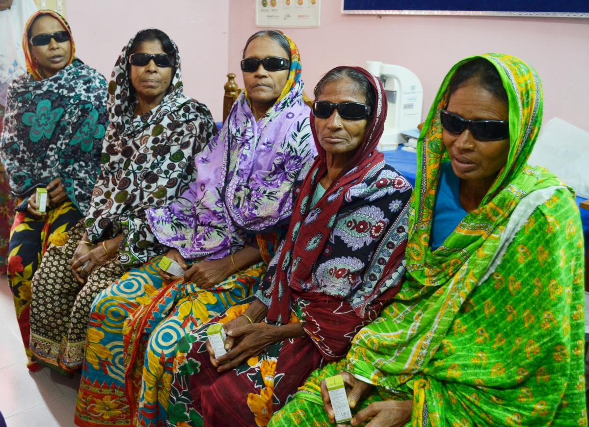 Women in rural Bangladesh following an outreach eye camp