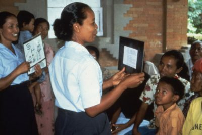 Field testing flashcards in Indonesia 1988