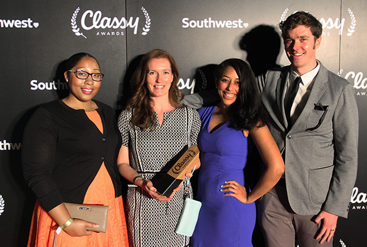 HelpMeSee team members pose with Classy Award (pictured left to right): Leticia John, Molly Biechele, Stefany Marranzini, and Matthew Hurst