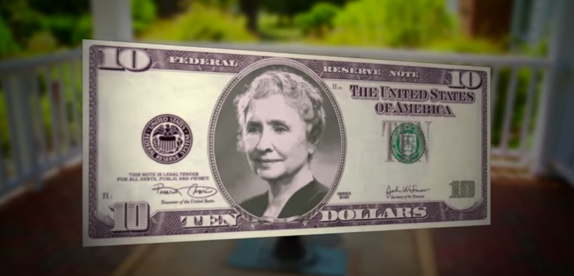 Helen Keller on USD10 note - illustration