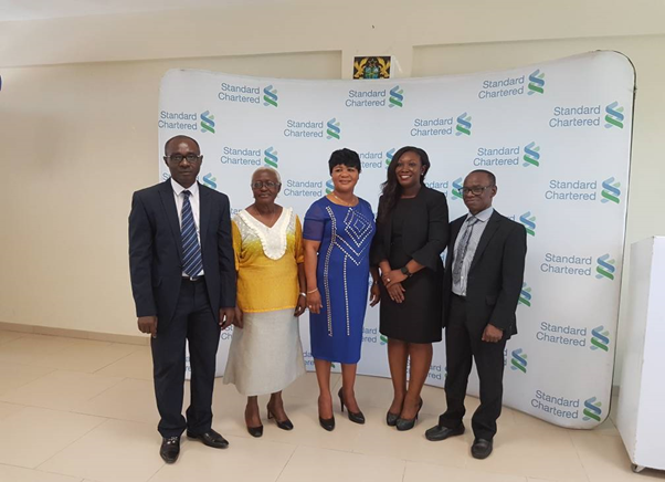 From L-R Dr. James Addy (Head of National Eye Care), Dr. Maria Hagan (Orbis Rep), Rebecca Antwi Boasiako (Head of ONS), Asiedua Addae of SCB and Dr. Boateng Wiafe of OEU