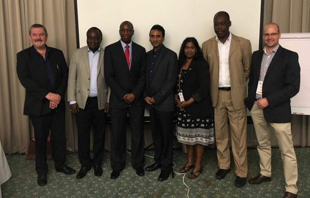 The IAPB Africa Team (left to right): Mr Ronnie Graham, Dr Joseph Oye, Dr Aaron Magava, Prof Kovin Naidoo, Miss Neebha Budhoo, Mr Senanu Quacoe and Mr Simon Day