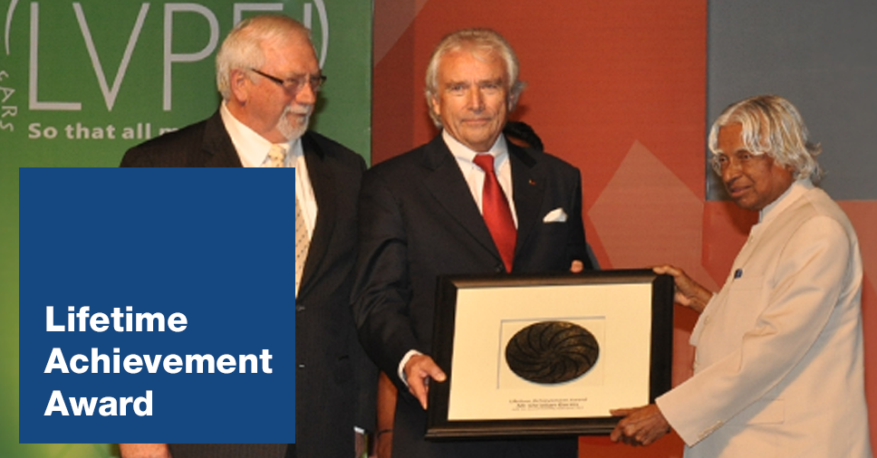 Mr Christian Garms receiving the Lifetime Achievement Award in 2012