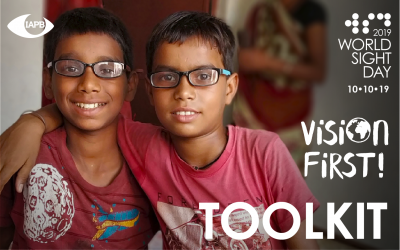 Toolkit PDF cover page. Two boys pose after successful cataract surgery.