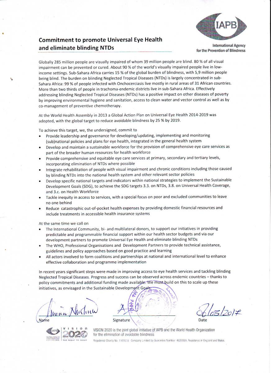 Eritrea signs the Commitment to promote UEH and eliminate blinding NTDs