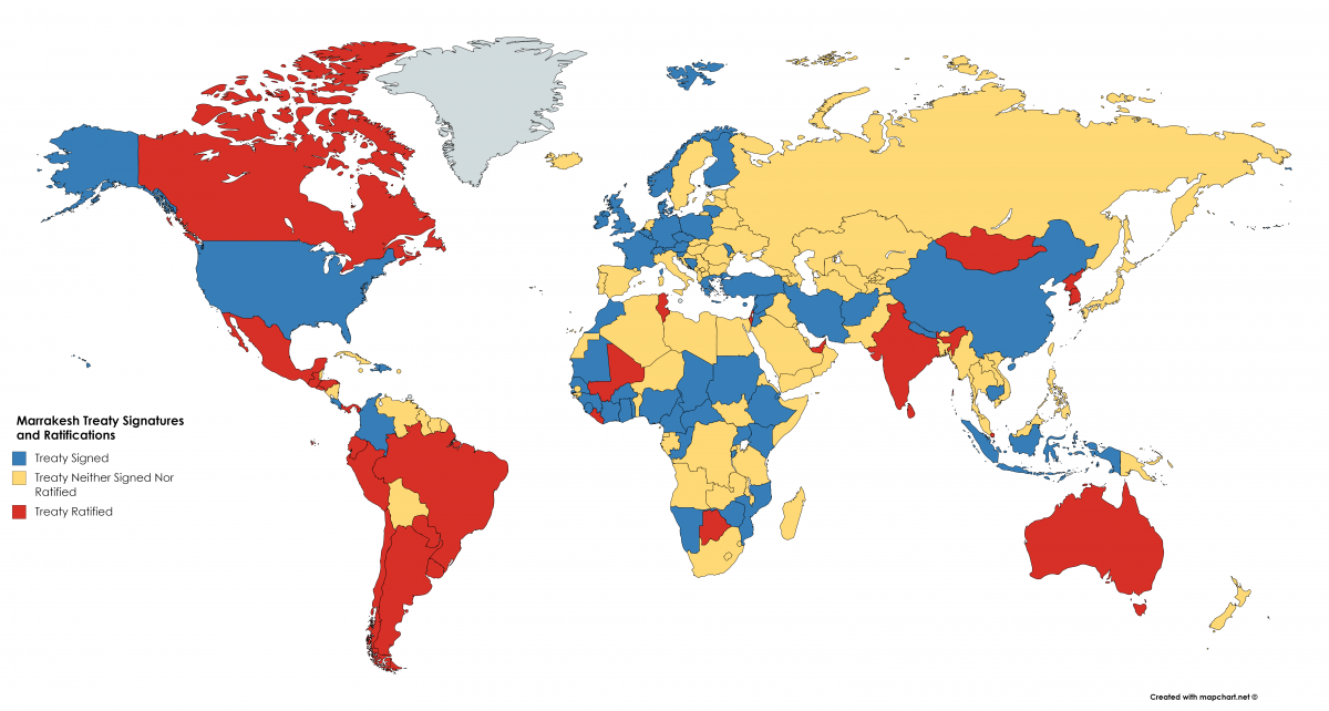 Map of Marrakesh Treaty Signatures and Ratifications