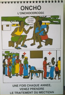 A poster on onchocerciasis in Cameroon