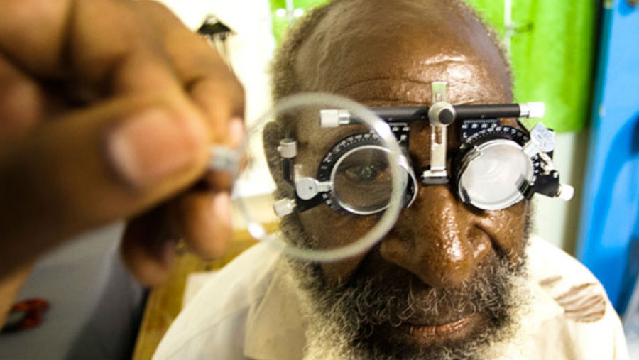 Two smiling men/ Story: Diabetes related vision problems a concern in PNG capital