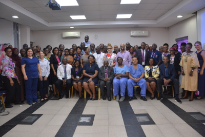 Cross section of participants and moderators at the symposium
