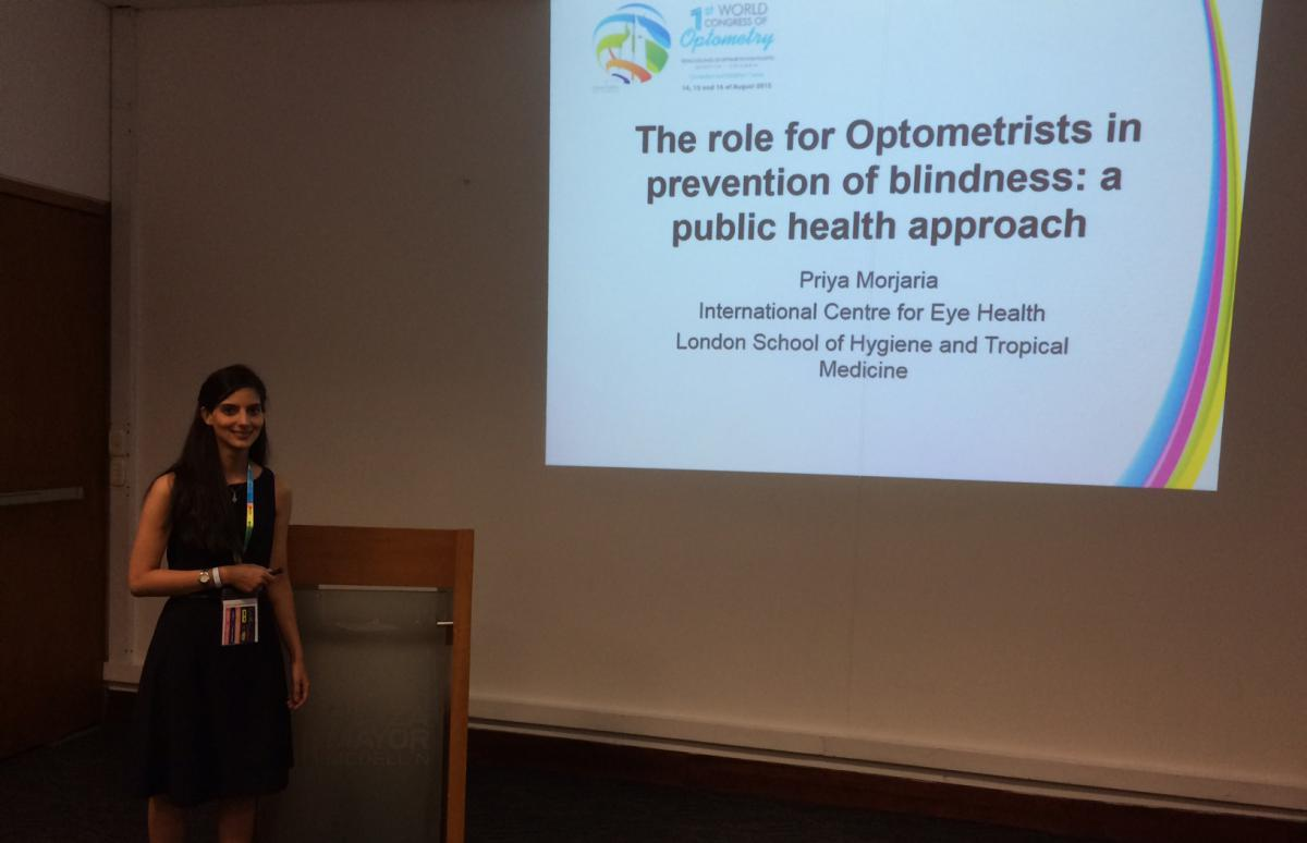 Priya and her presentation on the role of public health optometrists at WCO2015