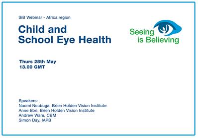 SiB Webinar – Child and School Eye Health (South East Asia / Western Pacific Regions)