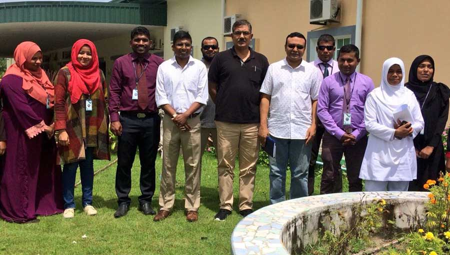 OEU Investigates Eye Health in Maldives, Sri Lanka. Group photo with Laam Regional Hospital managment team