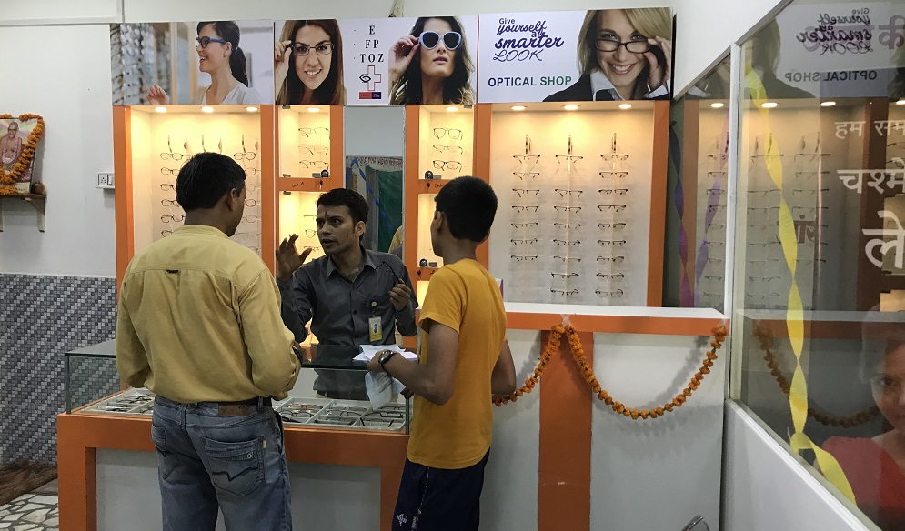 Patients at spectacles shop situated inside the Primary eye care Vision Centre (PECVC) of Sadguru Netra Chikitsalaya (SNC), Chitrakoot, India