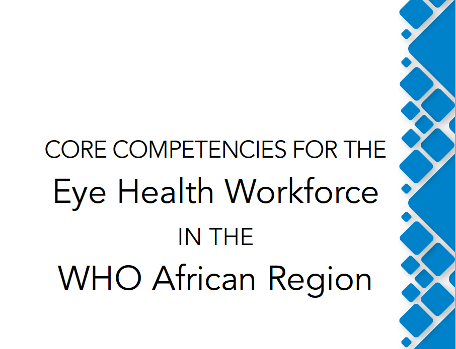 Screenshot of front Core competencies for the Eye Health Workforce in the WHO African region