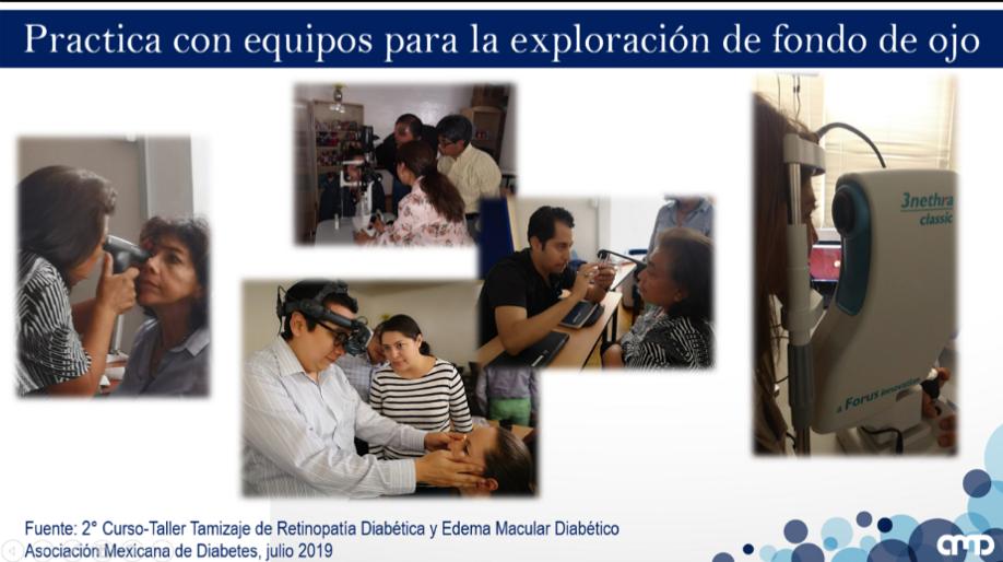 Sesión practica de los alumnos con diferentes dispositivos para la exploración de fondo de ojo