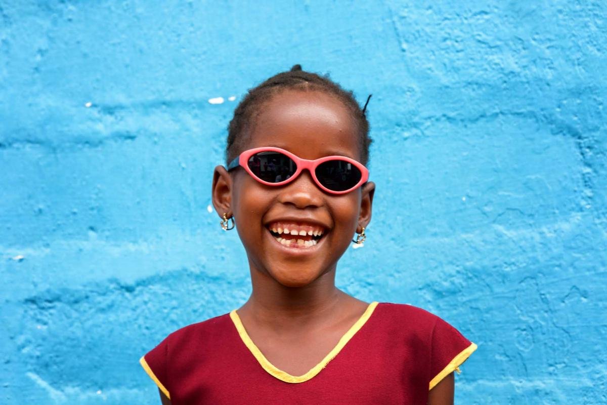 Little girl wearing spectacles