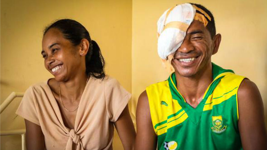 Smiling patient after cataract surgery/ Mark Sissons/ Story: World Report on Vision to release in 2019