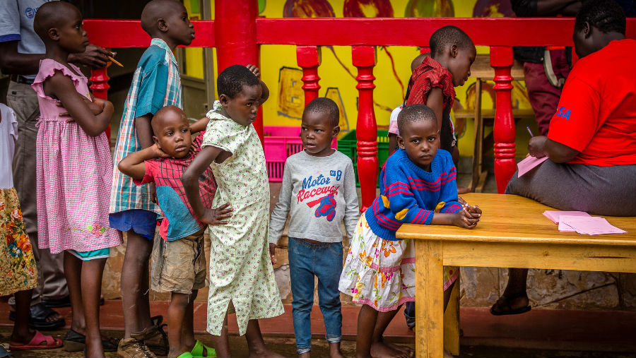 Story: Our Children's Vision reaches 18 million, Image: Waiting for their eye exam, Kampala orphanage By Terry Cooper